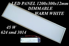 Panneau LED 1200 x 300 X12 mm / 45 W Blanc Chaud / dimmable / 4000 lm