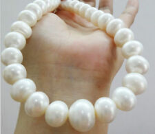 "TOP HUGE 18""16MM NATURAL SOUTH SEA GENUINE WHITE PEARL NECKLACE 14K"