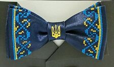 Ukrainian Bow Tie Butterfly Embroidered Vyshyvanka Blue Color Tryzub Trident