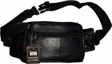 "New Leather Black waist pouch waist bag Fanny pack waist pack 54"" 1.5"" band BNWT"