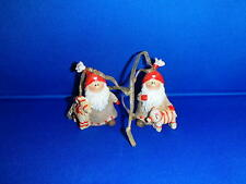 2 Scandinavian Danish Swedish Style Elf Tomte Nisse Gnome Ornaments #8925