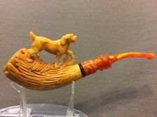 hunting dog  PIPE BY KARAHAN -BLOCK MEERSCHAUM-NEW-HAND CARVED-FROM TURKEY
