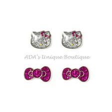 Hello Kitty Glitter Sparkly Stud Earrings Set of 2 Pink Bow Sanrio NWT