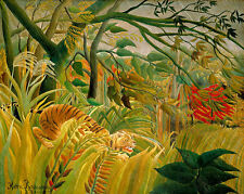 Tiger in a Tropical Storm by Henri Rousseau A1+ High Quality Canvas Art Print