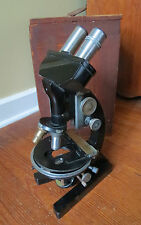 VINTAGE BAUSCH & LOMB MICROSCOPE with WOODEN CASE & PARTS
