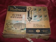 Retro/Vintage Icing Set- Stainless Steel- Turntable & Design Rings- Not Used