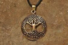 Anhänger Amulett Yggdrasil Bronze mit Lederband Wikinger Weltenesche mittelgroß