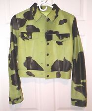 WOMEN'S FENDI LIME GREEN BROWN COW PRINT PONY HAIR BUTTON FRONT JACKET SZ S NWOT