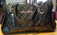 Paris Hilton purse quilted design black small saddle bag side pockets zippered c