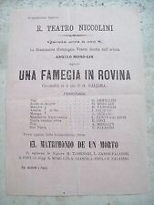1870 FIRENZE TEATRO NICCOLINI COMMEDIA IN DIALETTO VENETO DI ANGELO MORO - LIN
