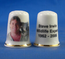 Birchcroft China Thimble -- Steve Irwin Wildlife Expert -- Free Dome Box