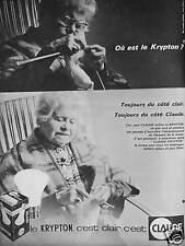 PUBLICITÉ 1964 AMPOULES CLAUDE LE KRYPTON C'EST CLAIR - ADVERTISING