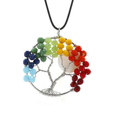 Gemstone Jewelry Multi Color Pendant Necklace Fruit Tree of Life