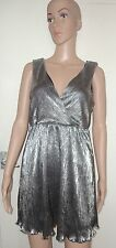 SIZE MEDIUM SILVER EMPIRE LINE SHORT/MINI V-NECK DRESS, FOREVER 21, NWOT, SEXY