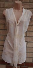 DOROTHY PERKINS CREAM FLORAL GOLD GLITTER TIE NECK BLOUSE TUNIC TOP CAMI 16 XL
