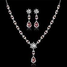 White Gold Plated Faux Red Ruby Necklace Earring Jewellery Set Anniversary Gift