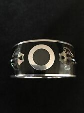 GEM KINGDOM Carved Wood Bangle W Sterling silver And Mother Of Pearl