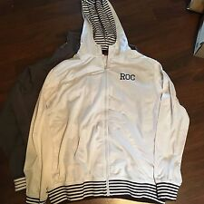 Rocawear Hooded Fleece white brown stripped XL Hoody Sweatshirt