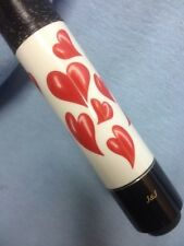 J&J Ladies White With Hearts Pool Cue And Tube Case