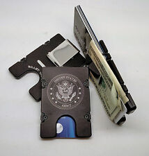 Billet Vault Front Pocket Wallet,  RFID protection black anodized, U.S. Army