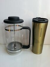 Bodum 8 cup  Press Coffee/Tea Maker & 12oz Stainless Steel Starbucks Tumbler