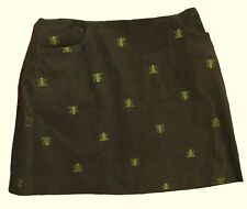 Lilly Pulitzer Size 8 Green Corduroy Mini Skirt Embroidered Frogs