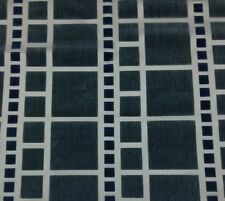 KNOLL LUXE GRAMERCY TRIBECA BLUE GEOMETRIC CUT VELVET SQUARES FABRIC 4.75 YARDS
