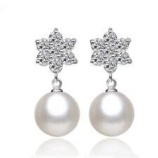 Elegant Pearl Imitation Drop/Sangle Earrings Zircon Women's 925 Sterling Silver