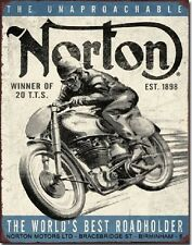 Norton Motors Roadholder TIN SIGN motorcycle ad vtg metal wall decor garage 1706