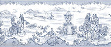 Colonial French Blue White Toile Country Garden Scene Wall paper Border T742462B