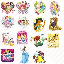 15x Princess Fairytale Iron On Glitter Transfers - Girls Kids Clothes Patch