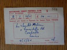 1964/1965 Ticket: Nottingham Forest Season Ticket Receipt For Payment (folded)