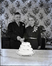 Older Couple Cutting Wedding/Anniversary Cake c1950s - Vintage 4x5 B&W Negative
