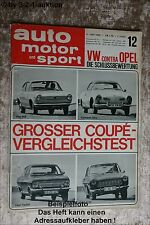Auto Motor & Sport AMS 12/66 Karmann Ghia Fiat 850 Ford 12 M