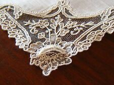 SPECTACULAR c1860 POINT de GAZE LACE Weding/Bridesl Handkerchief~Perfect Cond