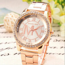 HOT Stainless Steel Crystal Diamonds Dial Analog Quartz Wrist Watch Rose Gold