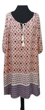 NEW LOOK Dress Kaftan Size 20 Tunic Pink Cream Blue Aztec Boho Summer Holiday