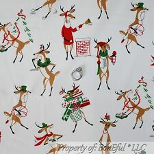 BonEful FABRIC FQ Cotton Quilt VTG Xmas Red White Rudolph Red Nosed Reindeer B&W