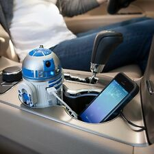 R2D2 R2-D2 STAR WARS USB CAR CELL PHONE TABLET CHARGER LIGHTS SOUND MOTION NEW