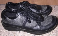Womens Prada Black Leather & Silver Mesh Lace Up Sport Sneakers Shoes Sz 36