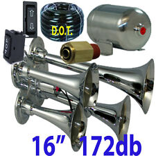 4 Trumpet Air Horn 1006F Hose,1gl Stainless 170 dB Train 200 PSI Kit no fitting