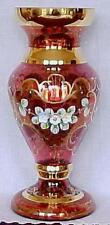 """Antique Jewels"" Ruby Glass Vase- Czech Republic-FREE SHIPPING"