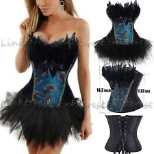 Sexy Black Peacock Feather Corset Tops LACE UP Basques Steampunk Dress W/TuTu US