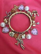 Betsey Johnson Vintage Rosebud Puffy Heart Rose Fairy Butterfly Stretch Bracelet