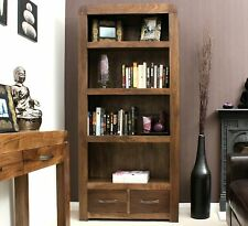 Shiro solid walnut dark wood furniture large living room office bookcase