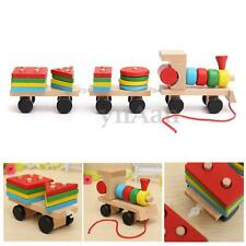 Wooden Solid Wood Stacking Train Building Blocks Toddler Kid Child Xmas Gift Toy