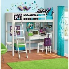 Twin Bunk Loft Bed over Desk with Ladder Kids Teen Bedroom White Wood Furniture