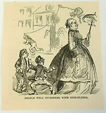 small 1883 magazine engraving ~ WOMAN INTERFERES WITH BOYS KITE-FLYING