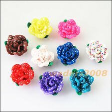 8 New Charms Handmade Polymer Fimo Clay Flower Spacer Beads Mixed 15mm