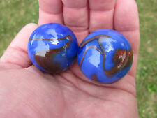 2 BOULDERS 35mm VOLCANO Marbles glass ball Blue/Red Giant LARGE Swirl